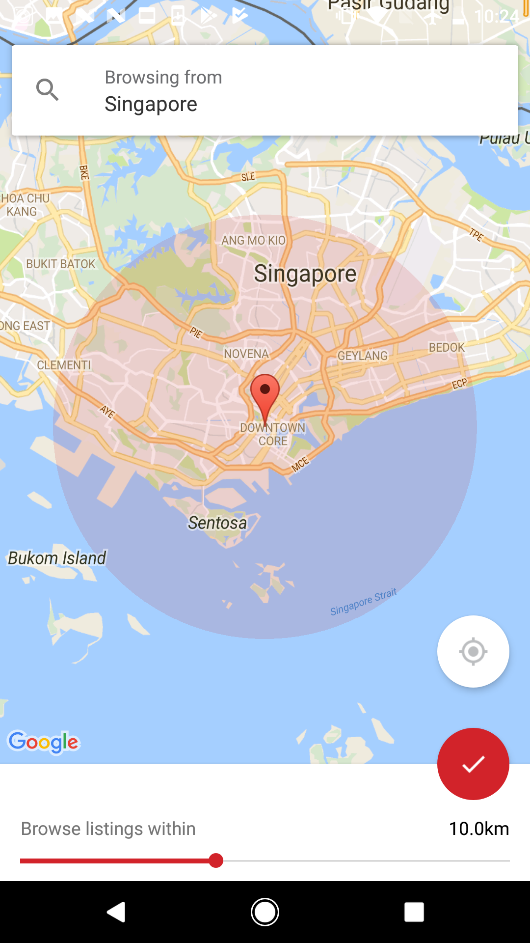 Filtering by location on Carousell for iOS