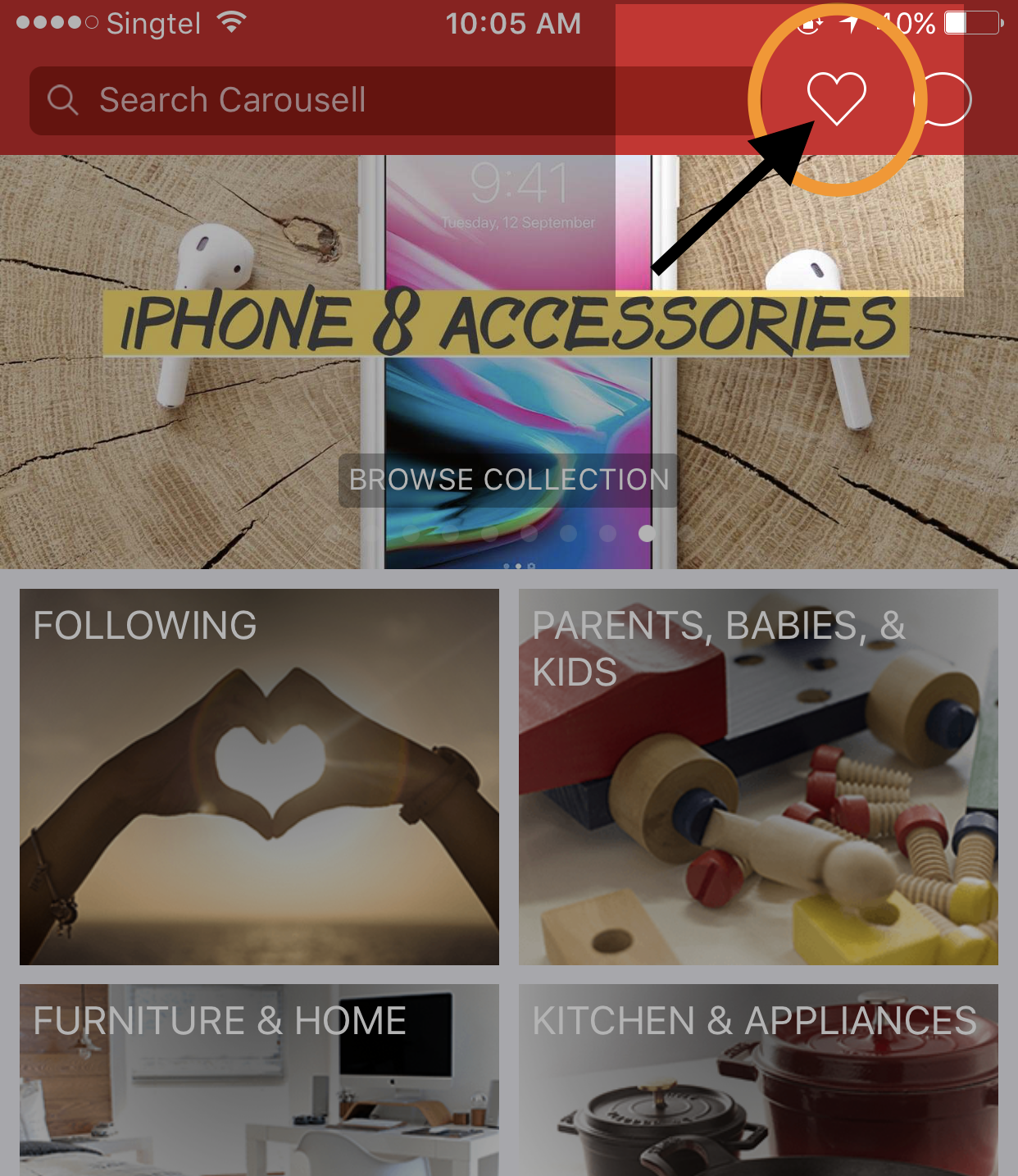 Where to find bookmarked items on Carousell