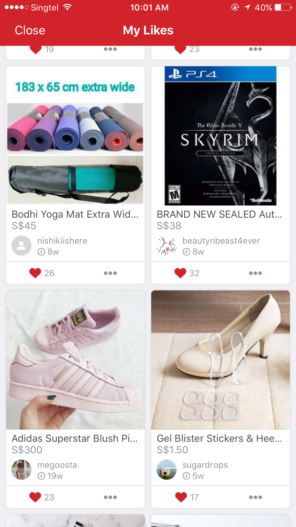 Bookmarked items on My Likes page on Carousell