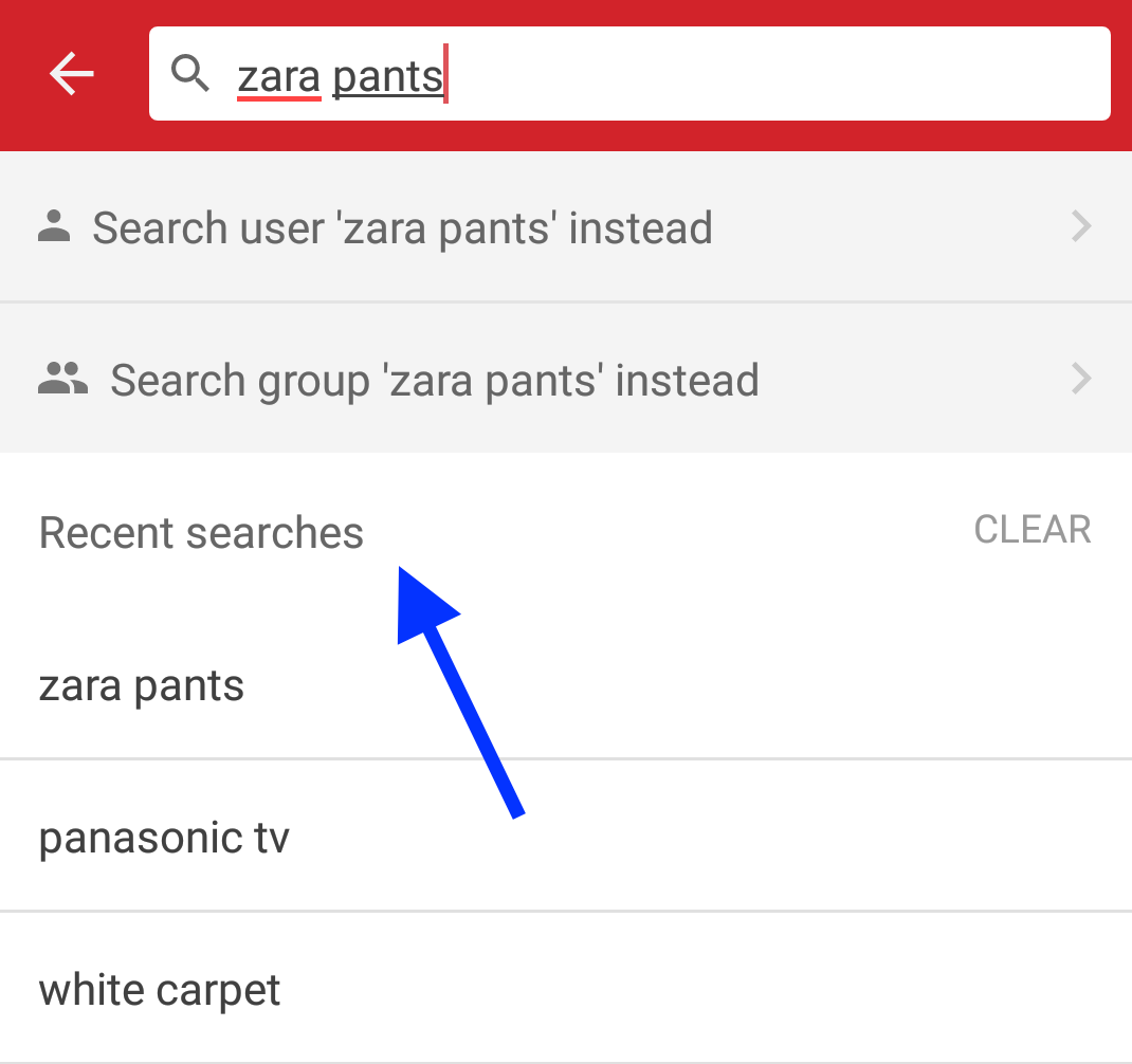 How to view recent search history on Carousell for Android