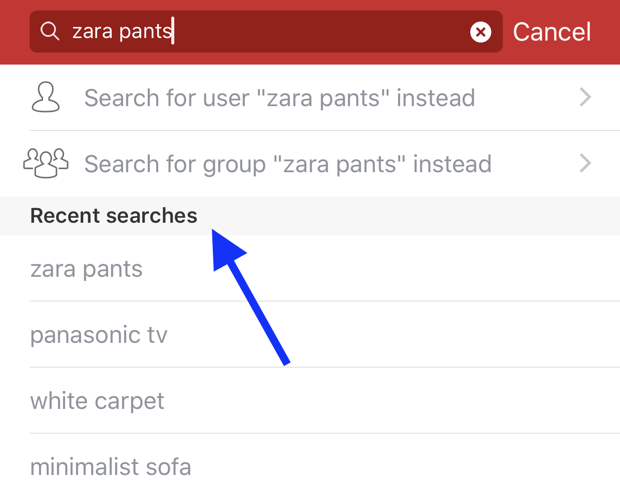 How to view recent search history on Carousell for iOS