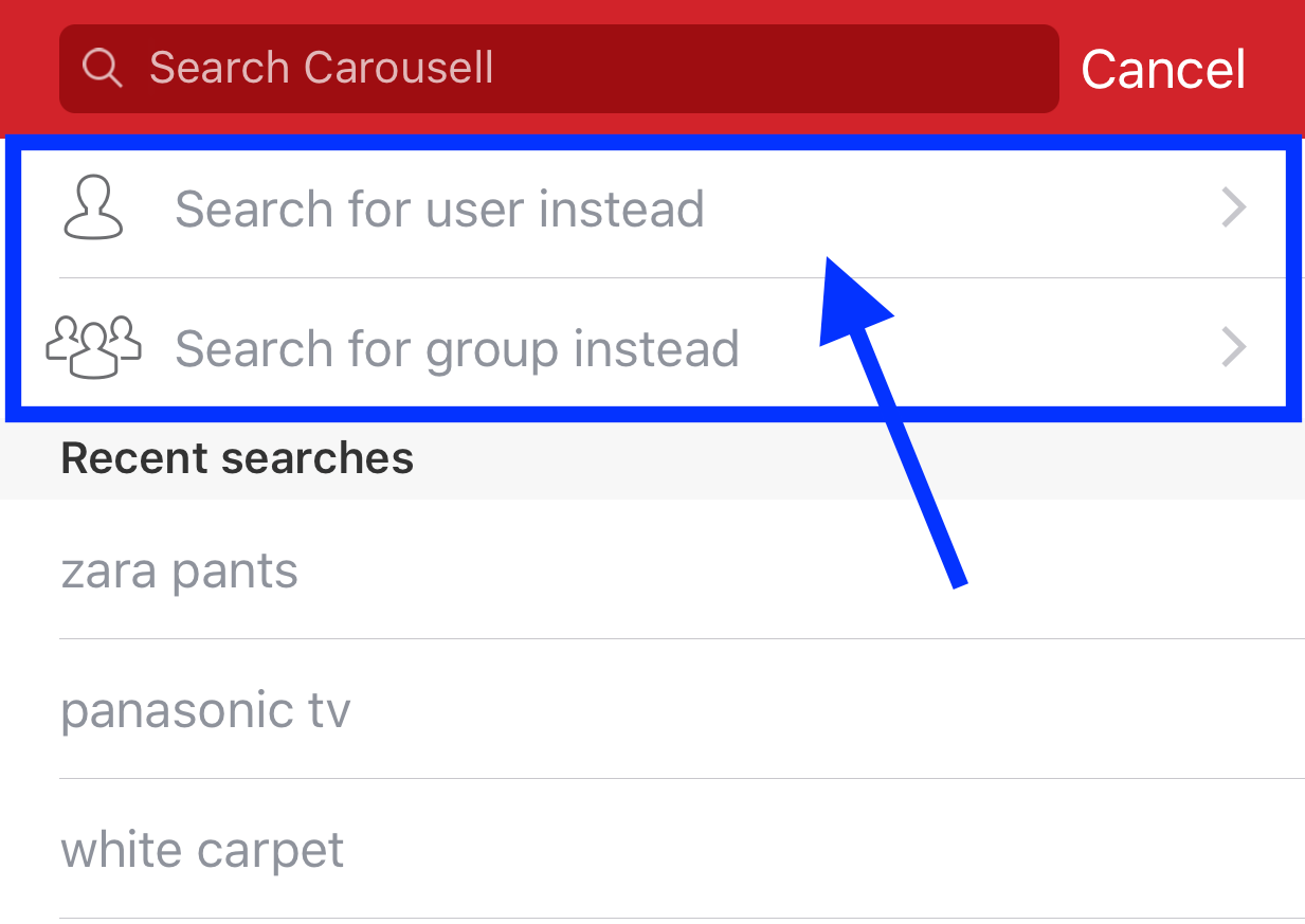 Search for User or Group on Carousell for iOS