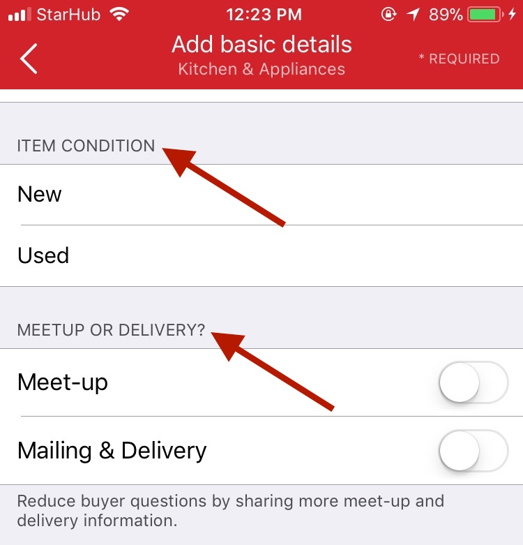 How to sell on Carousell by selecting your item's condition and your selling preference