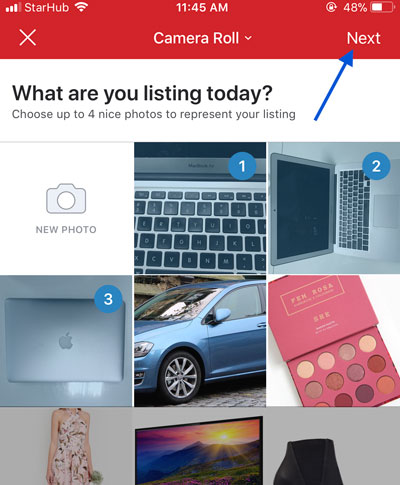 How to sell on Carousell by selecting the pictures you want to upload for your used item