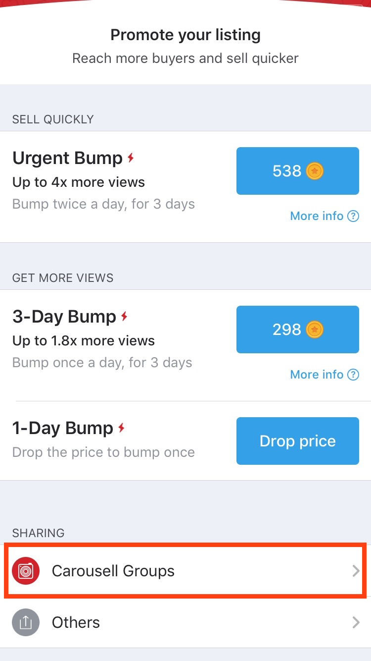 Promote listing on Carousell via groups within the promote page