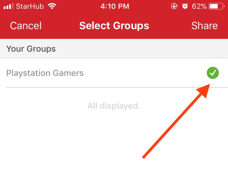 Promote listing on Carousell by choosing the right group to share with
