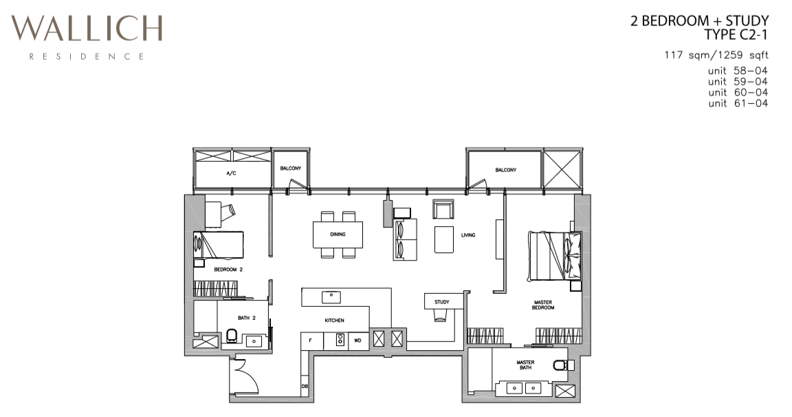 Wallich Residence 2 bedroom with study