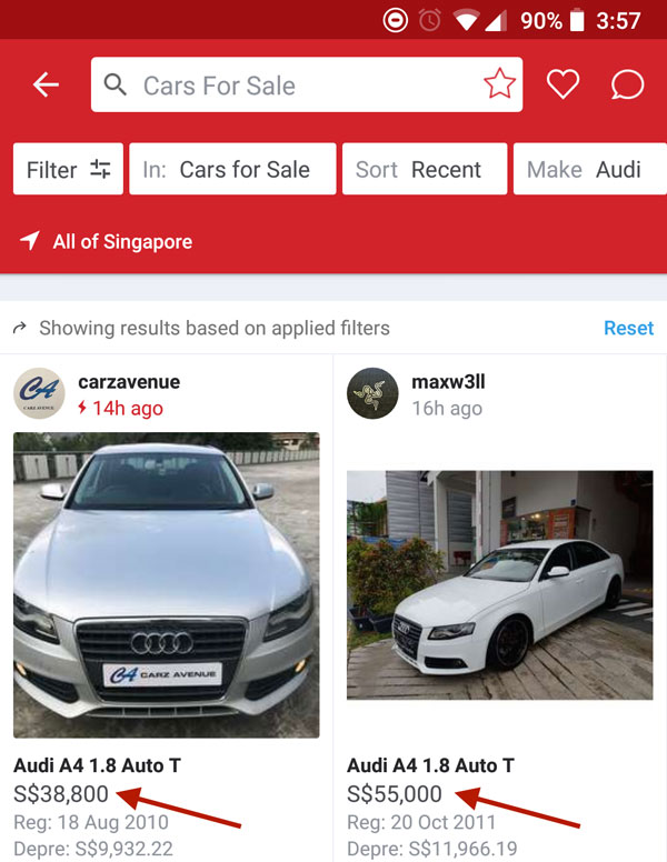 Compare used car prices on Carousell
