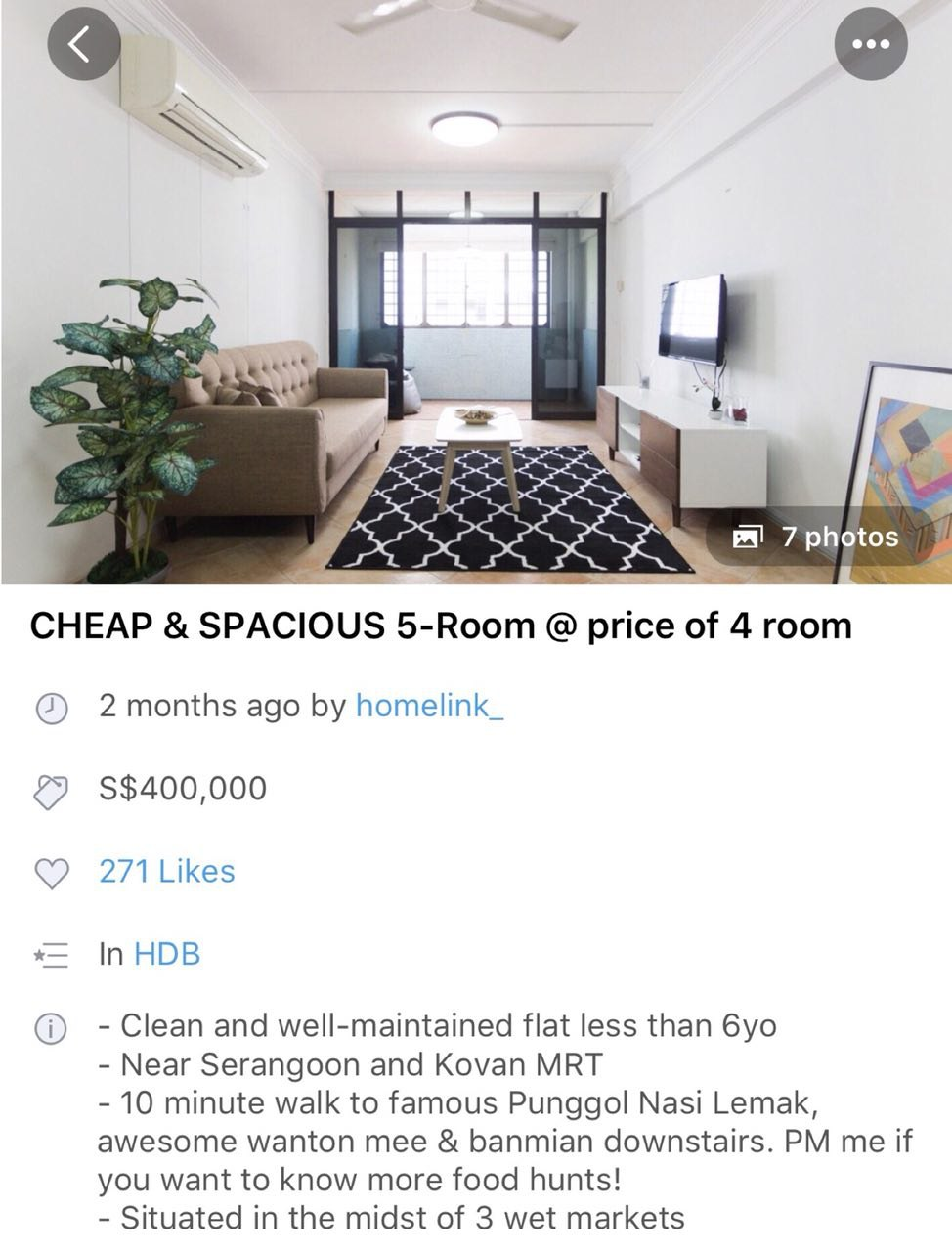 Example of a good HDB listing on Carousell
