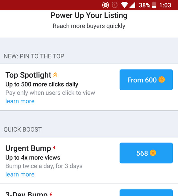 Promote listing on Carousell
