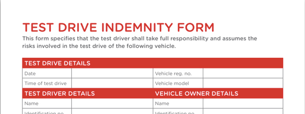 Test drive indemnity form preview