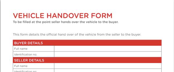 Vehicle Handover Form