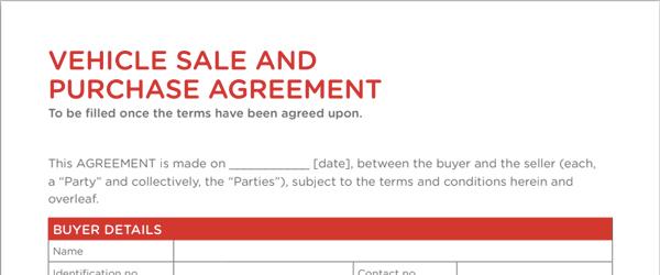 Sales agreement form