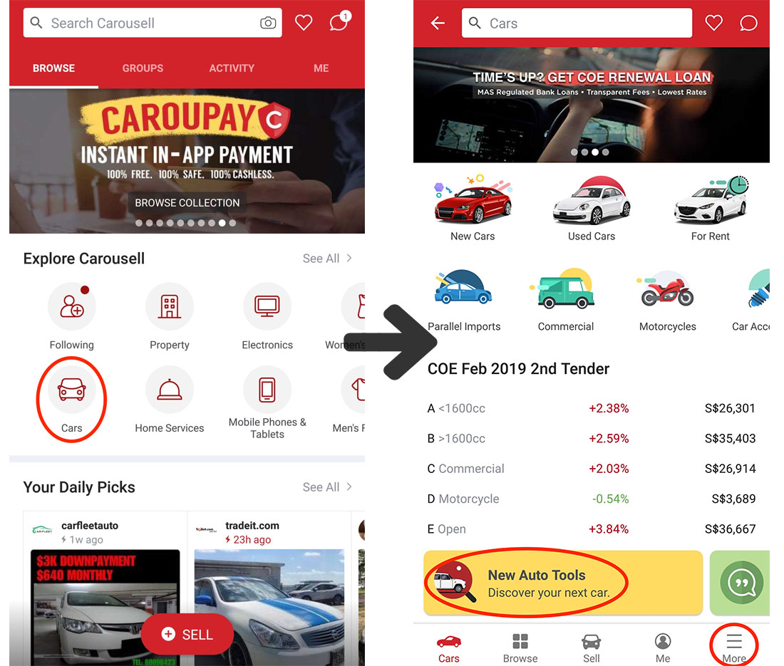 carousell app buy and sell car in singapore