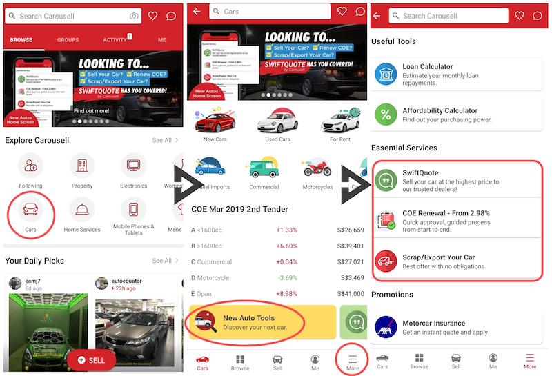 swiftquote carousell - how to sell car, how to renew car COE, how to scrap car guide