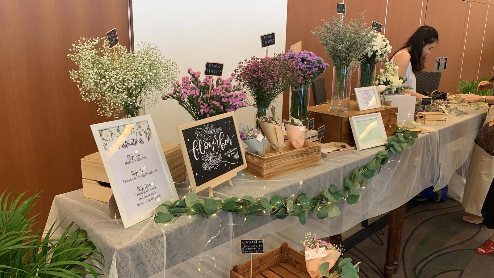 Flower bar at wedding found on Carousell for an affordable price