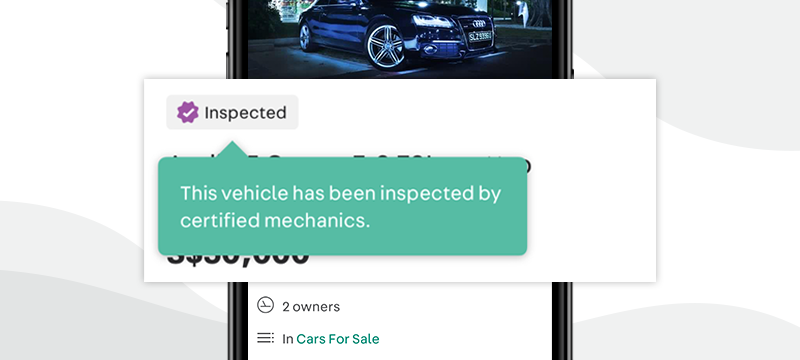 Carousell Autos 'Inspected' badge for used cars, so you know when used cars have already been inspected before sale