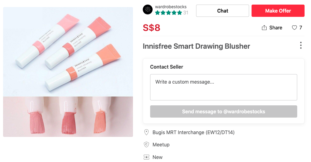 Alternative to expensive Glossier Cloud Paint that you can find on Carousell Innisfree smart drawing blusher