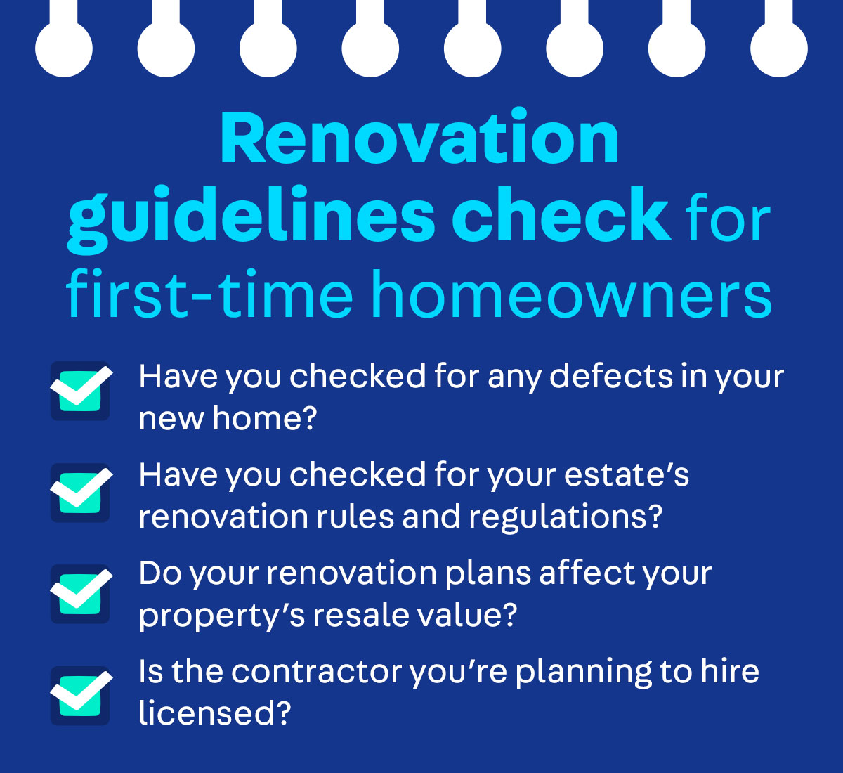 New homeowner renovation checklist by Carousell