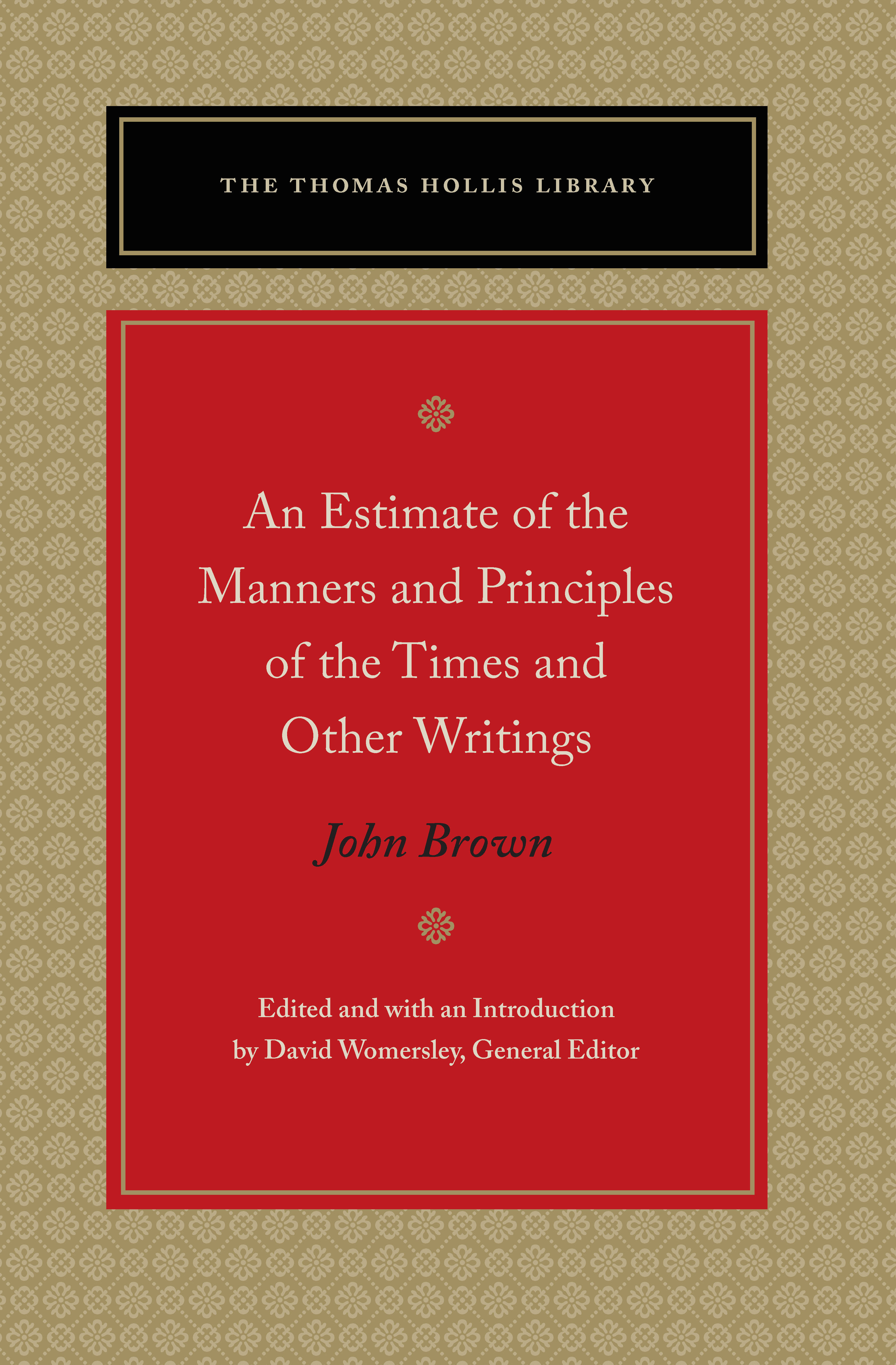 estimate of the manners and principles of the times and other writings an