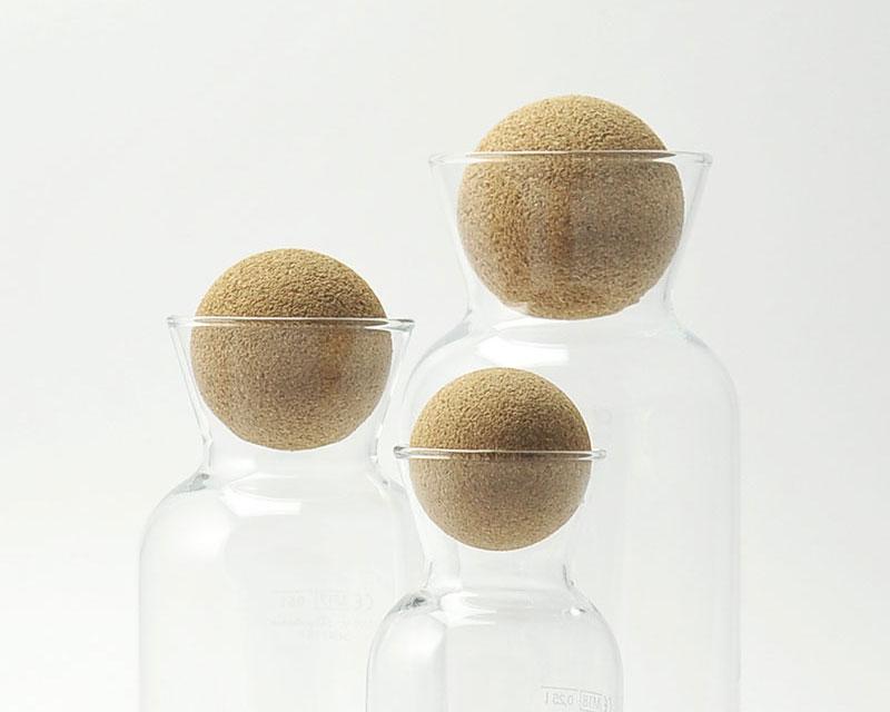 Bouchons en liège écologique pour carafes Tube Ice 25cl, 50cl et 1L. La famille au grand complet