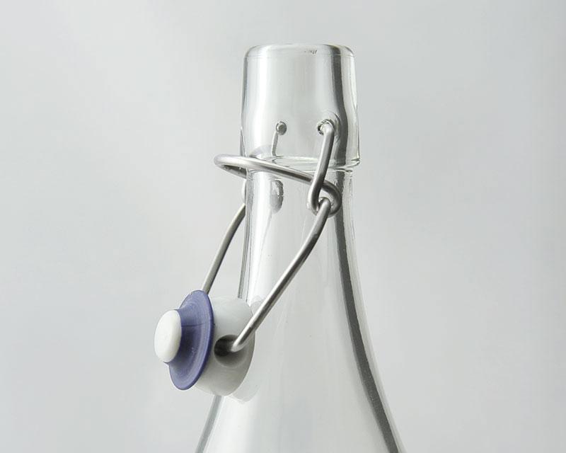 Bouchon mécanique pour bouteille retro, disponible en bleu ou rouge. Fermeture durable et écologique