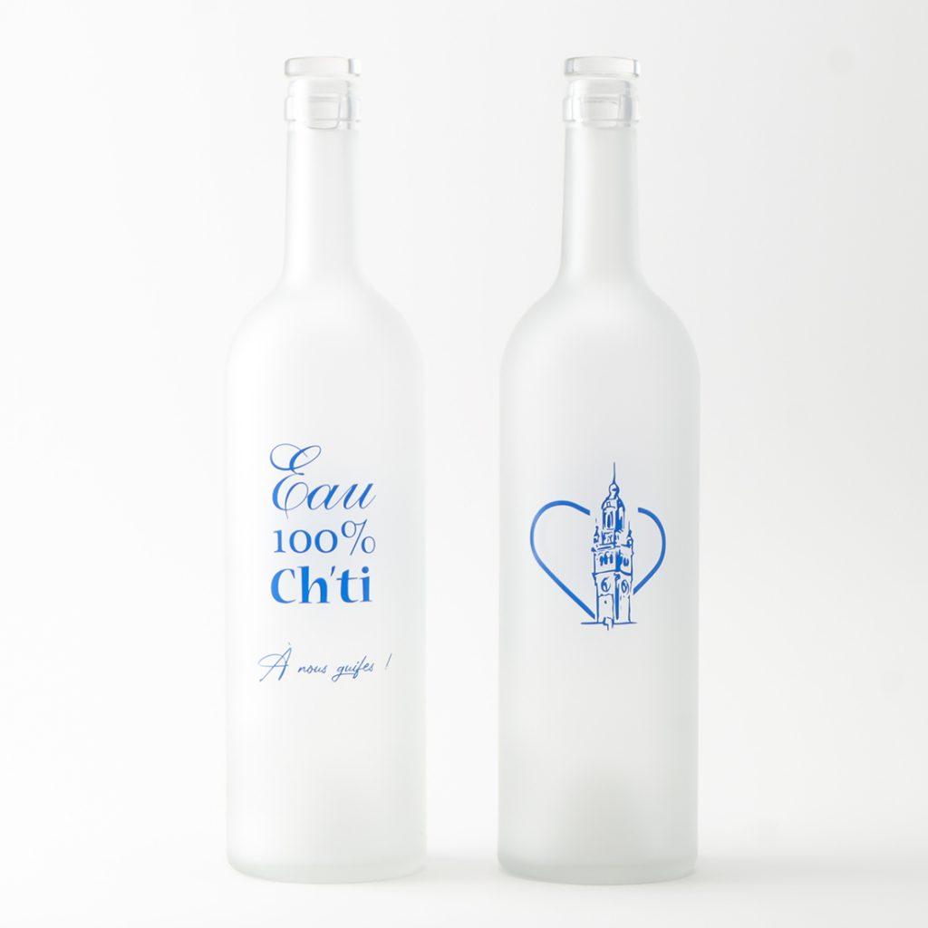 Carafe décorée sur bouteille satinée décor chti nord pas de calais bleu