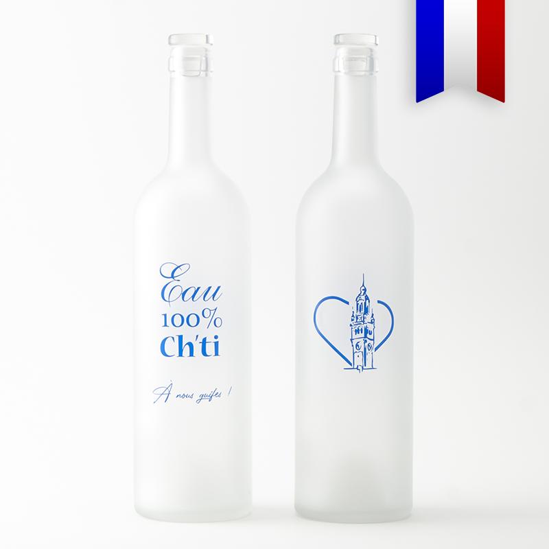 Une carafe personnalisée, inspirée du patois du Nord-Pas-de-Calais, c'est l'eau 100% Cht'i, signée Bouteilles d'Eauteur.