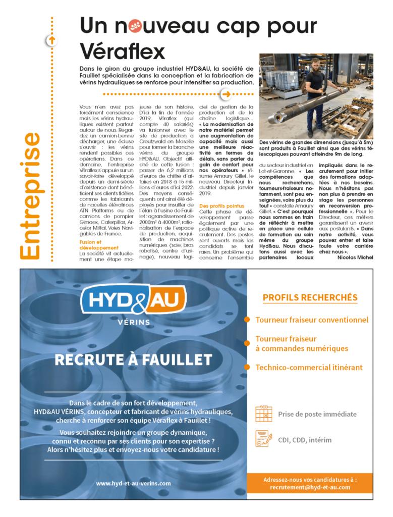 Article presse HYD&AU VÉRINS Fauillet
