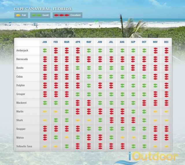Cape Canaveral Fishing Calendar