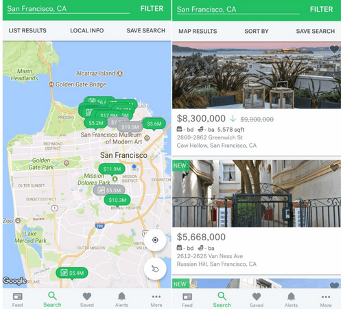 Trulia App UX Search Results