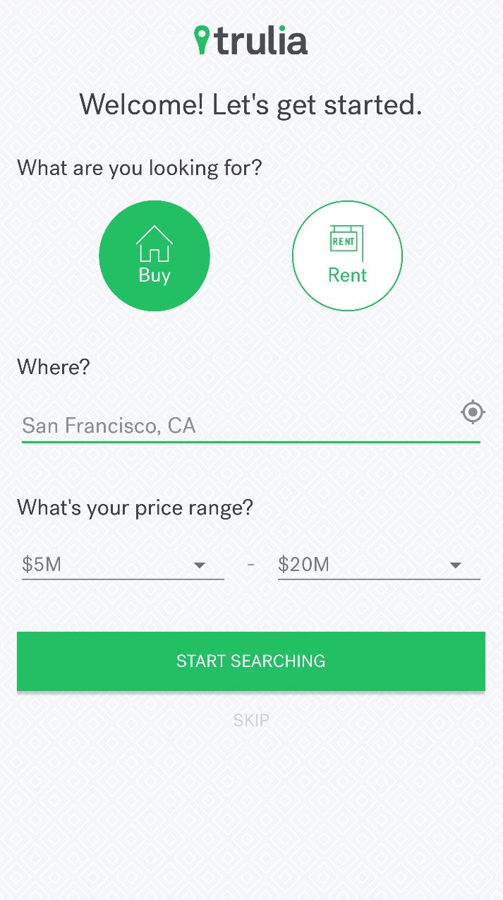 Trulia App UX Registration
