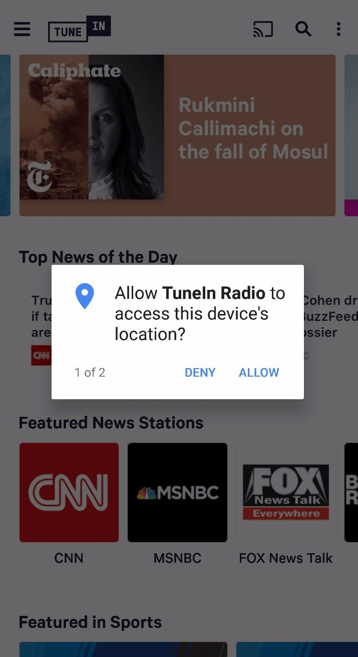 app engagement tunein permission