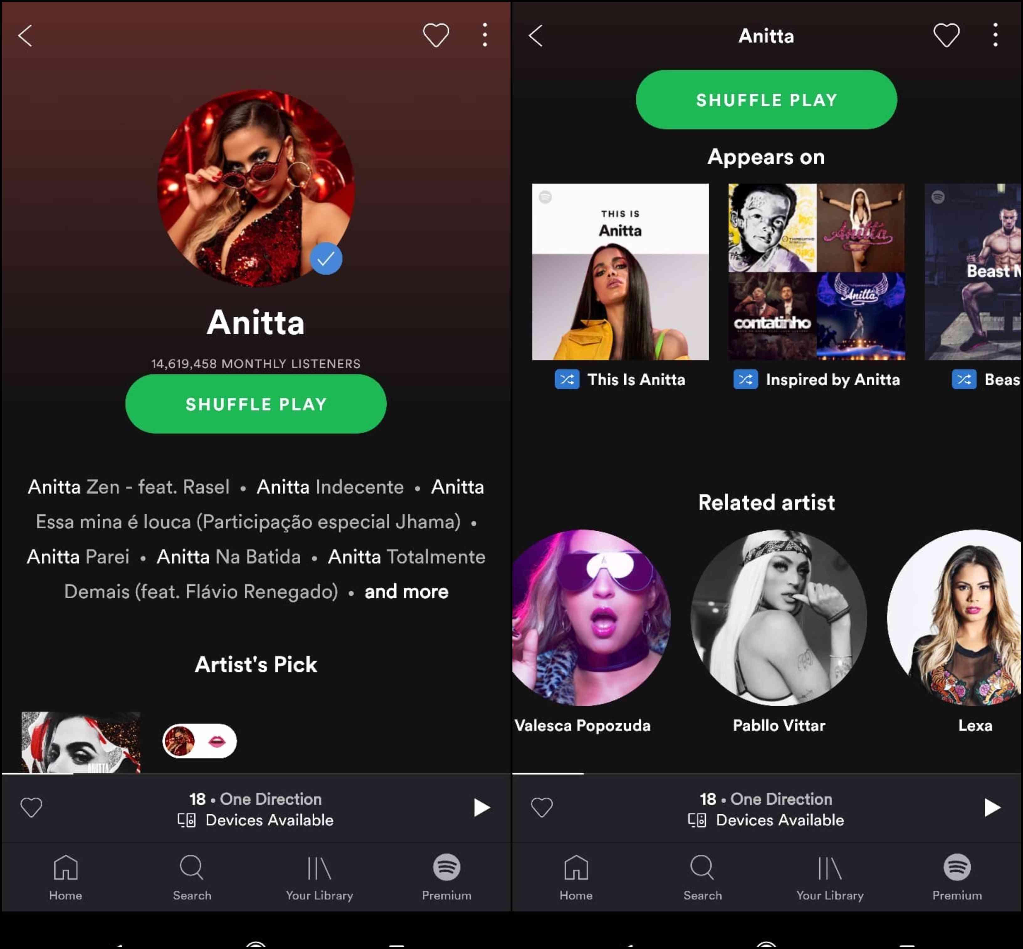 Spotify App UX Artist Profile