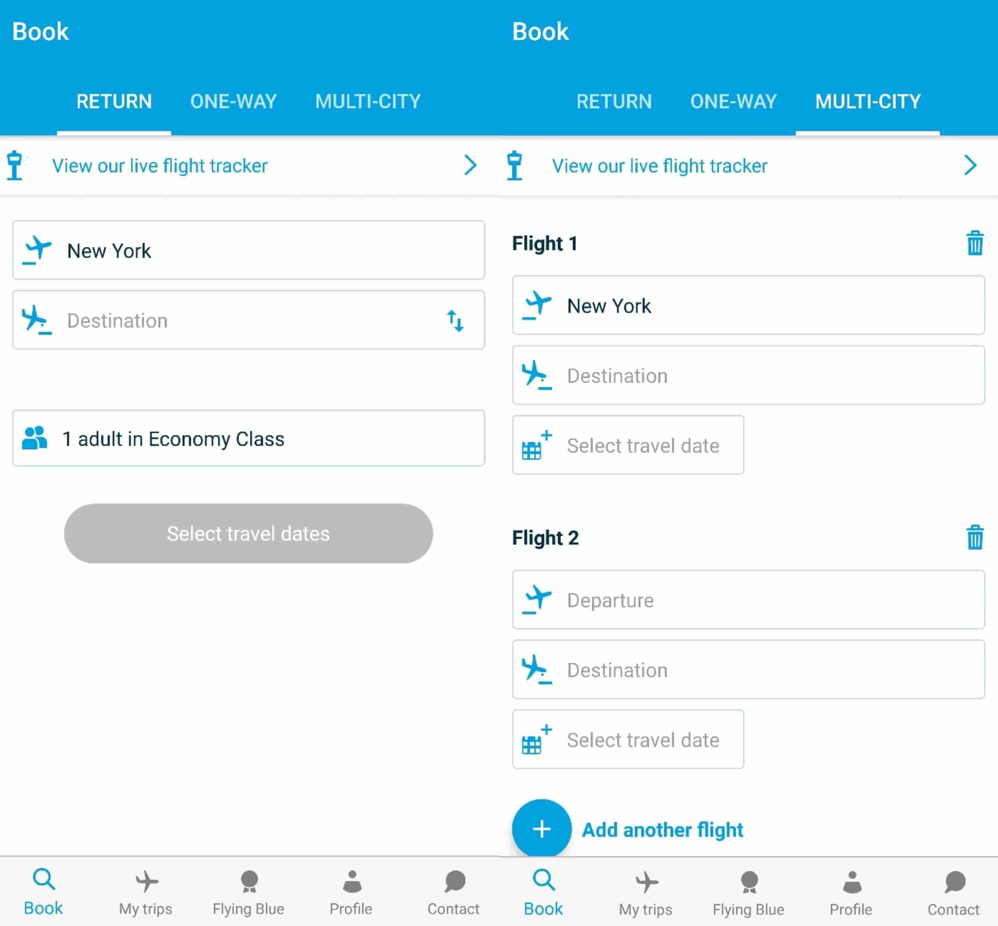 KLM App UX Booking