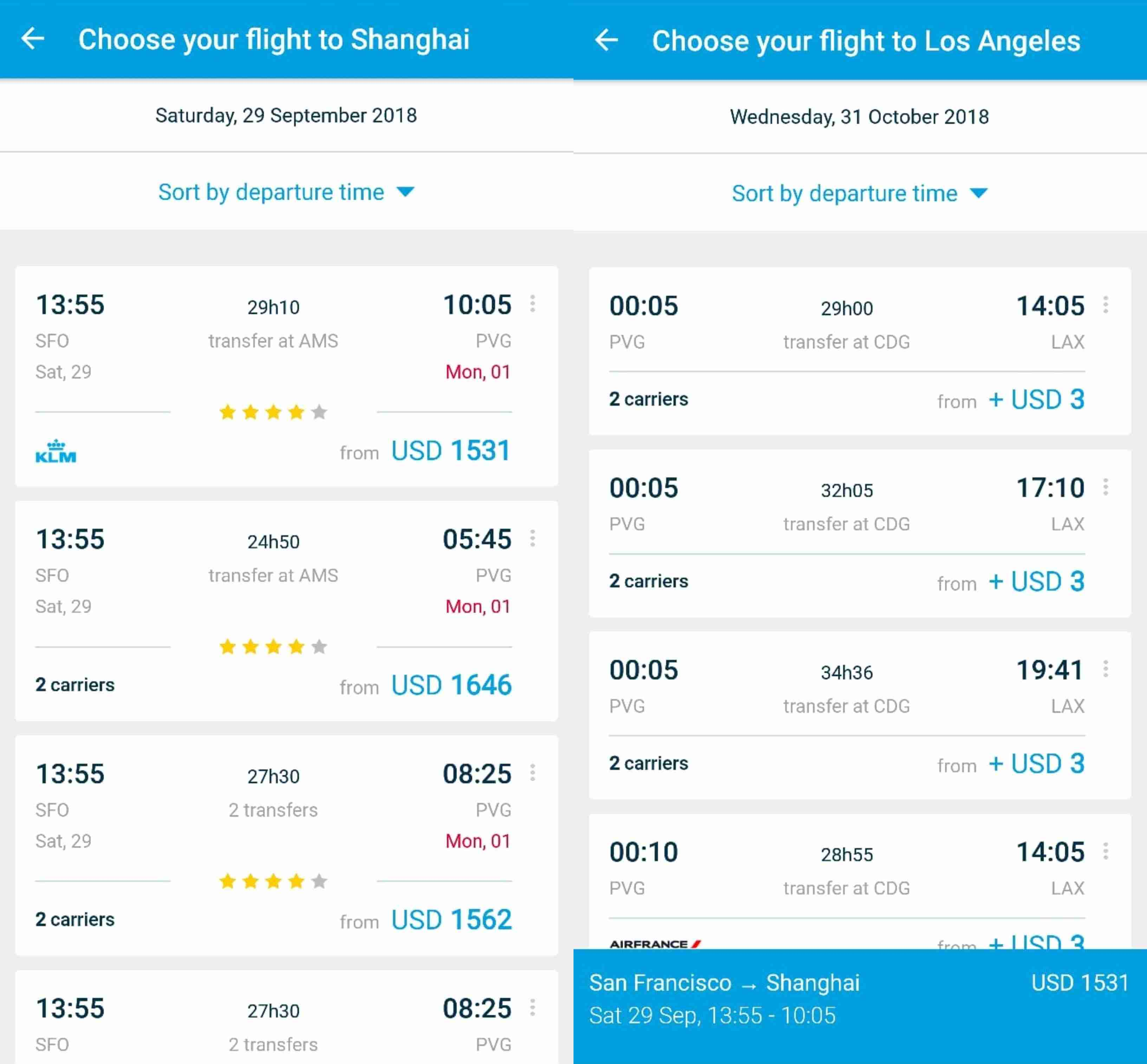 KLM App UX Multi-City