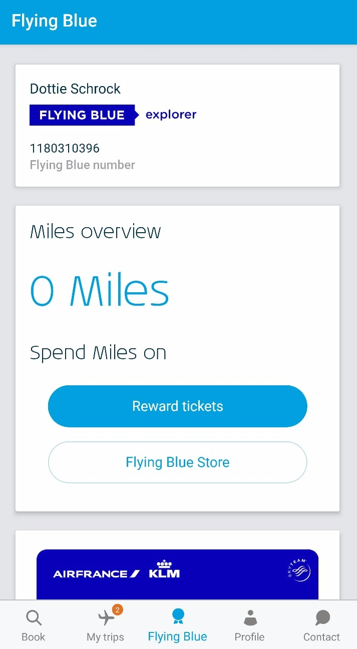 KLM App UX Flying Blue