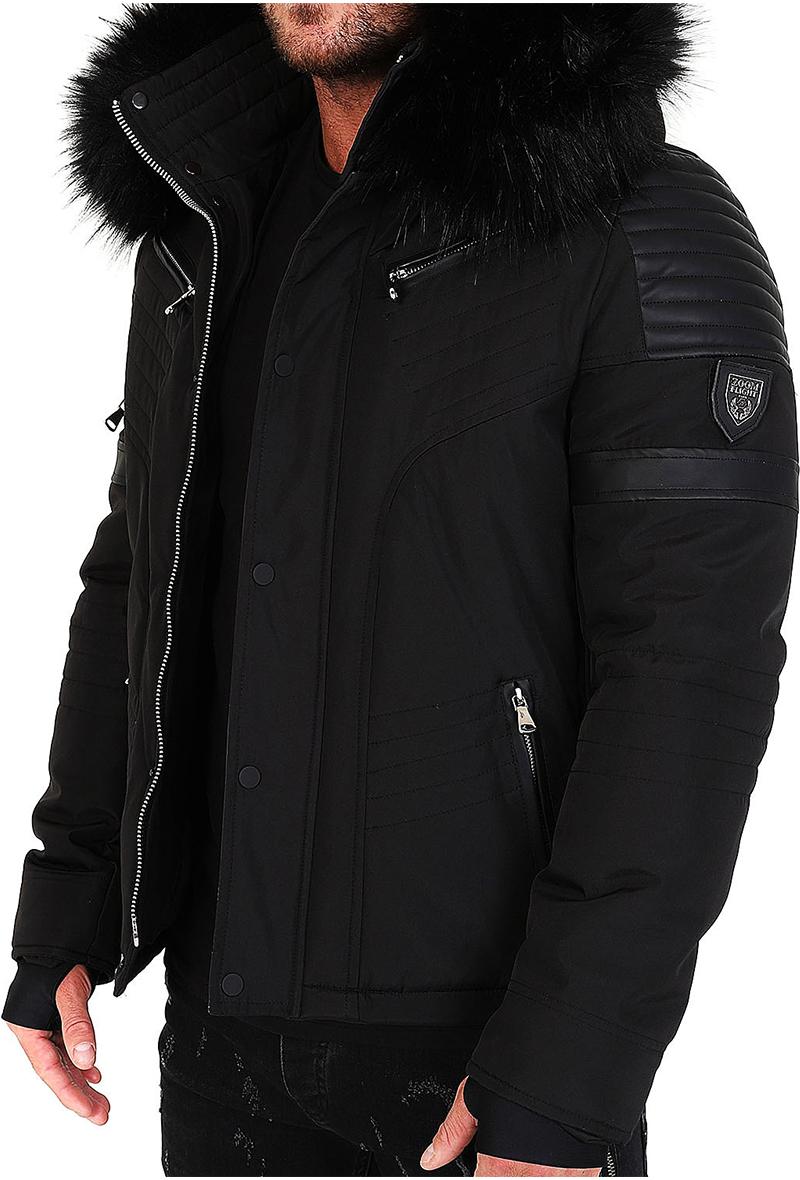 Veste doudoune homme hiver FURY 3382 Bi matière noir avec