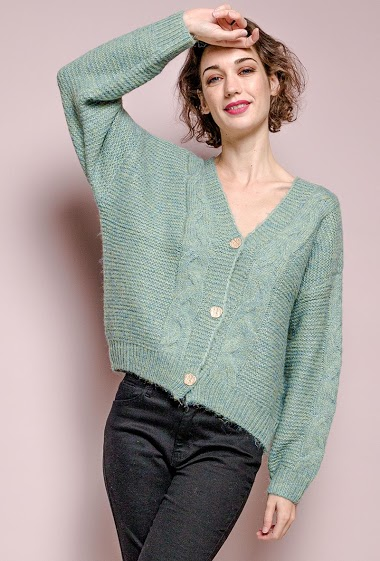 Cable knit cardigan,The model measures 177 cm