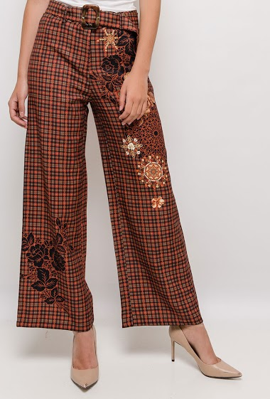 Check wide leg pants