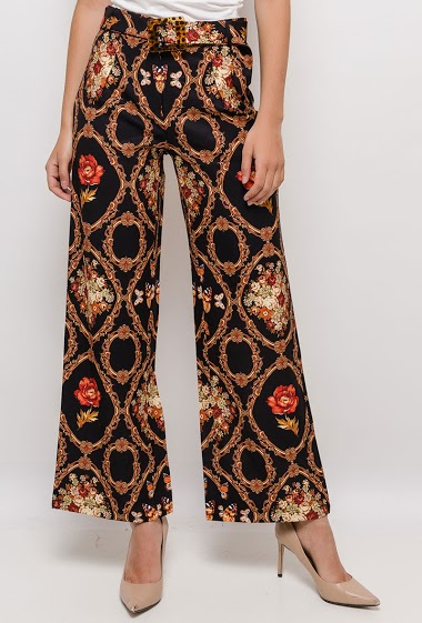 Wide leg pants with baroque print