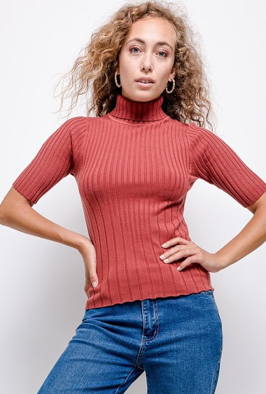 Turtleneck sweater, short sleeves. The model measures 171 cm