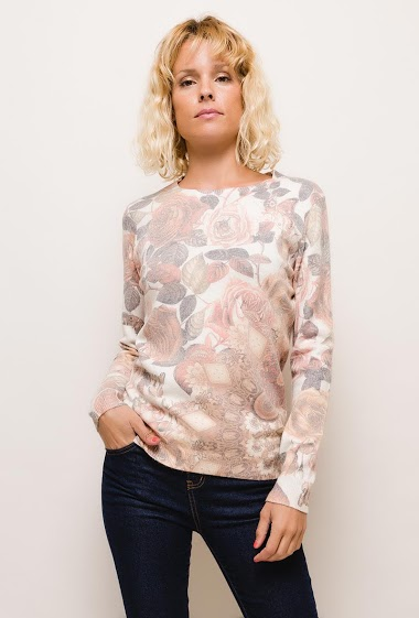 Printed sweater,The model measures 177cm and wears S/M. Length:67cm