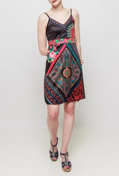 Printed dress, adjustable straps, back with smocks