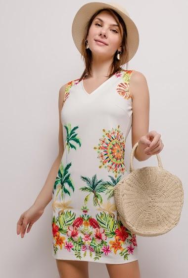101 IDÉES vestido estampado tropical CIFA FASHION