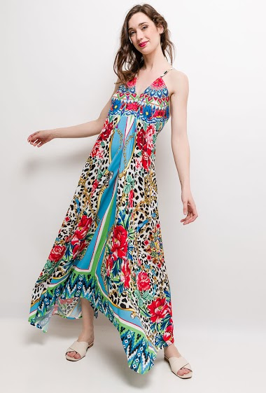 Printed strappy dress. The model measures 177cm and wears S/M. Length:140cm