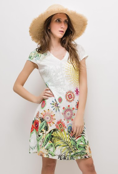 Short sleeve dress, print. The model measures 170cm and wears S/M. Length:90cm