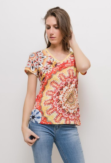 Printed t-shirt with strass