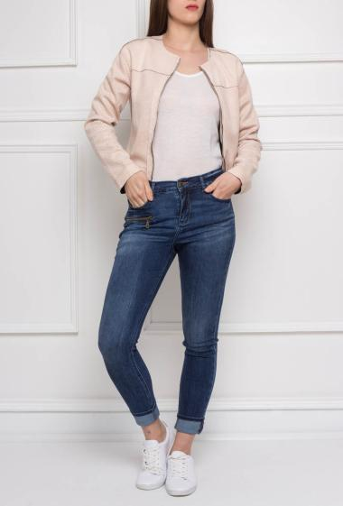 Suede zippered jacket collarless with punched details