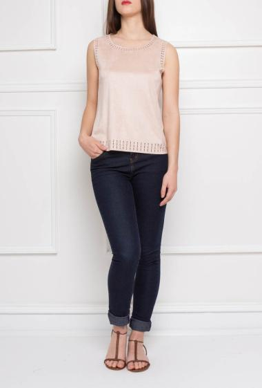 Suede top with cut work detail, sleeveless